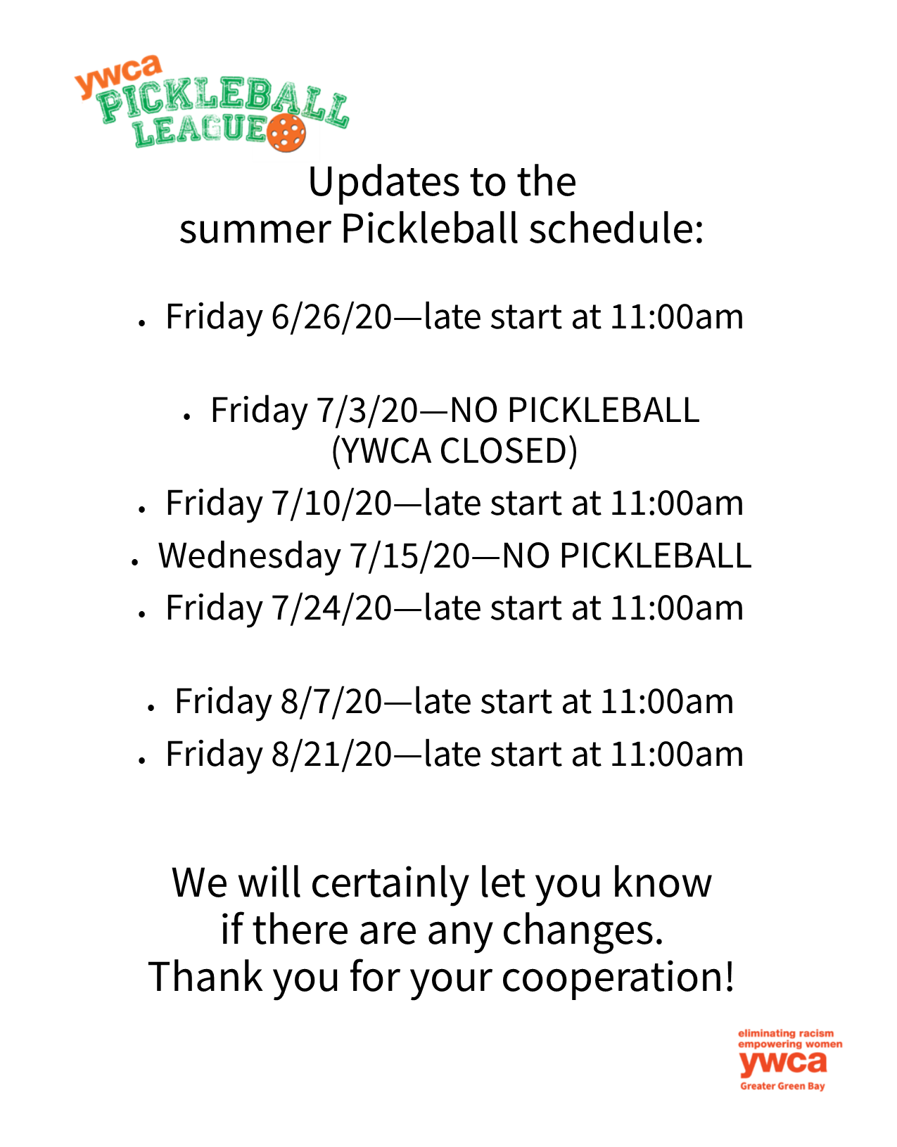 pickleball schedule change