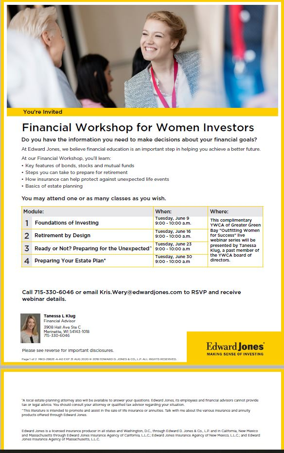 Outfitting Women for Success: Foundations of Investing @ This webinar series will take place online. Call or email the contact below to register and get event details.